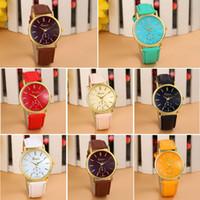 bandas de reloj de moda al por mayor-Moda 7 colores reloj de cuarzo de las mujeres de la banda de cuero de Ginebra reloj de pulsera de cuarzo analógico Vogue Relojes de las mujeres