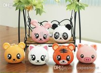 Wholesale Portable loudspeakers portable small speakers mini pig cute cartoon phone audio computer o raccoon dog bag mail
