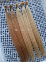 "Wholesale Hair Extensions Light Blond - 18"" - 24"" #27 Honey Blond and #613 Bleach Blonde Straight Keratin Nail U Tips Hair Extensions INDIAN REMY 100g"