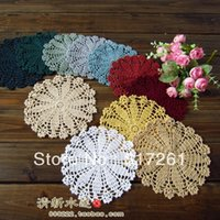 Wholesale Crochet Cup Placemat - Free shipping 8 colors 20 pic 16cm round crochet table mat vase mat rustic 100% cotton knitted cup pad placemat for coffee