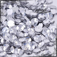 Wholesale Crystal Stones For Dresses - Wholesale-10mm Clear Crystal Rivoli Rhinestone Sew On Flatback Acrylic Gems Round Strass Crystal Stones For Clothing Dress Decorations