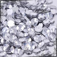 Wholesale Acrylic Sewing Stone - Wholesale-10mm Clear Crystal Rivoli Rhinestone Sew On Flatback Acrylic Gems Round Strass Crystal Stones For Clothing Dress Decorations