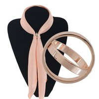Wholesale Double Han - Gold plated H Double Ring scarves buckle acetate sheet Han edition popular buckle wholesale scarves, word