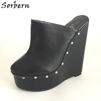 Barato Exclusivo Inverno Sapatos-Sorbern Black Pointed Toe Wedge High Heel Slingbacks Winter Outerdoor Slipper Pump Shoes Warm Inner Short Plush Custom Exclusive