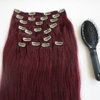 Wholesale red wine hair extension online - 160g inch Clip in human Hair Extensions Brazilian Hair J Red Wine Remy Straight Hair weaves set free comb