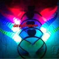 Wholesale Toy Horns - Women Girls LED Light Up Flashing Party Headband Devil Horns Hair Band Flashing Led Rave Hair Accessories Toy