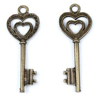 Wholesale Key Jewelry Components - MIC New Antique Bronze Tone Heart Magical Key Alloy Charm Pendants Jewelry Necklace DIY Jewelry Findings & Components