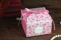 Gros-50 pcs Mode Floral / Light Blue Rose Wedding Favors Candy Box Gift Box 6.5 * 6.5 * 4.8cm
