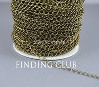 Wholesale Chain Extender Antique - Factory Price 10 Meters 3x5mm Antique Bronze Brass Curb Extender Chain Jewelry Necklace Findings