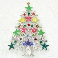 Wholesale Enamel Pins - 12pcs lot Wholesale Colorful Crystal Rhinestone Enameling Christmas tree Pin Brooch Christmas gift Brooches C550