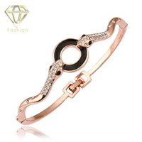 Wholesale Snake Bites - New Fashion Double Snakes Bite a Black Circle Rose Gold Plated Bangle with AAA+ Cubic Zircon Crystal Statement Bracelet Jewelry
