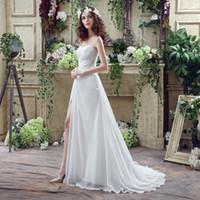 Wholesale Dress Pleaded - 2016 Simple Elegant Design White Beach Wedding Dresses Sweetheart Side Slit Beaded Lace Pleaded Chiffon Modern Bridal Gowns