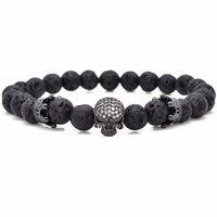 Wholesale Energy Stones Rocks - Brand Trendy Natural Beads Strand Bracelet Micro Pave CZ Skeleton Skull Black Lava Rock Stone Energy Men European Buddha Jewelry