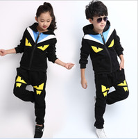 Wholesale Good Brand Black Suit - Good Quality Big Boys Girls Cartoon Casual Outfit Children Autumn Winter Zipper Hooded Jacket+Pants 2pcs Sets Kids Clothing Athletic Suit