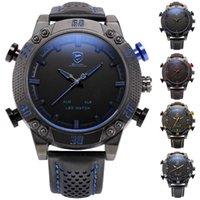 Wholesale Wholesale Shark Watches - Shark Dual Time Wristwatch Auto Date Alarm Leather Band LED Male Clock Analog Military Quartz Mens Digital Sport Watches   SH261-SH265