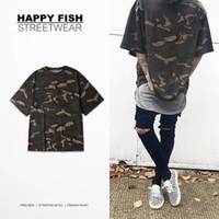 kamuflaj askeri gömlek toptan satış-2016 Camo Tee Hip Hop Moda Mens T-Shirt Askeri Kamuflaj Erkekler Kısa Kollu O-Boyun Kanye West T Gömlek Streetwear S-XXXL