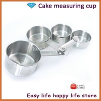 Wholesale Set Cheap Cups - Free shipping Cheap 4pcs set Stainless steel measuring spoon combination set measuring spoons scale measuring cup spoon H2186