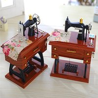Wholesale clockwork music box resale online - Big size Vintage Treadle Sewing Machine Music Box Mini Sartorius Toy Personality Birthday Gift Decor Clockwork Style Musical Toy
