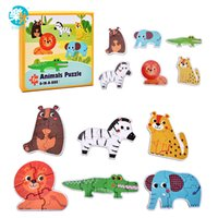Wholesale Box Wooden Fish - LogWood Baby Wooden Toys Wooden Puzzles Jigsaw puzzle Animal  Traffic  Ocean fish  6pcs in a box Educational table game gifts