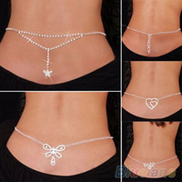NEW SEXY ARGENT STRASS BELLY TAILLE bas du dos 1HLS CHAIN
