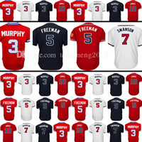 Wholesale Hank Aaron Baseball - Men's 5 Freddie Freeman 7 Dansby Swanson Baseball Jersey Adult 3 Dale Murphy 10 Chipper Jones 44 Hank Aaron Jerseys Embroidery 100% Stitched