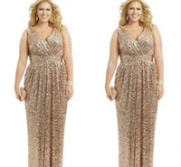 Wholesale Sexy V Neck Prom Dress - 2015 Sexy Plus Size Formal Dresses Gold Sequin Sheath V-Neck Capped Floor Length Evening Gowns Formal Mother of the Bride Prom Dress Custom