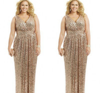 Wholesale Plus Sizes Evening Dresses - 2015 Sexy Plus Size Formal Dresses Gold Sequin Sheath V-Neck Capped Floor Length Evening Gowns Formal Mother of the Bride Prom Dress Custom