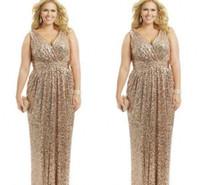 rosenkleid plus größe großhandel-Sexy plus size kleider rose gold pailletten mantel v-ausschnitt bodenlangen abendkleider formale mutter der braut abendkleid benutzerdefinierte