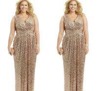 vestidos formais tamanho 28w venda por atacado-Sexy Plus Size Vestidos de Ouro Rosa Lantejoulas Bainha Com Decote Em V Até O Chão Vestidos de Noite Formal Mãe da Noiva Prom Vestido Personalizado