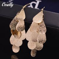 Wholesale Long Earrings Shape - Bohemian Style 18K GP Heart Shaped Long Dangle Earring Jewelry Gift for Women Party Wedding Jewelry Dangle Earrings