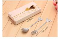 ingrosso set di forchetta a cucchiaio di cuore-regalo bomboniera e omaggi per gli ospiti - cucchiaio cuore in acciaio inox e souvenir festa Fork 100 set / lotto