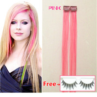 Wholesale Hair Colour Cheap - free shipping PINK hair Mix colour 2pcs per pack cheap clip in human Hair Extension remy hair clip ins red pink burg blue