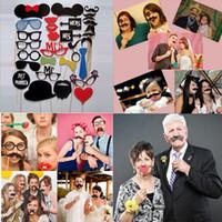 fotos divertidas venda por atacado-Frete Grátis 1 Conjunto / 31 pcs DIY Photo Booth Adereços Hat Lips Tie Bigode Em Uma Vara Festa de Aniversário de Casamento Fun Favor