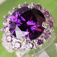 Wholesale orange gemstones resale online - 03AR8 Round Cut Purple White Sapphire Amethyst Gemstone K Platinum Plated Ring Size