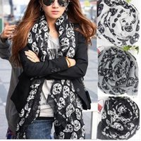 Wholesale Skeleton Big Scarf - Wholesale-Fashion Cool Big Skull Head Skeleton Scarf Neck Wrap Shawl Stole Warm Winter