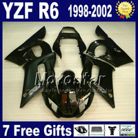 Wholesale Motorcycle Fairing Kit Yzf R6 - ABS full fairing kit for YAMAHA YZF600 YZF R6 1998 1999 2000 2001 2002 YZF-R6 98-02 all glossy black ENEOS motorcycle fairings VB4 +7 gifts
