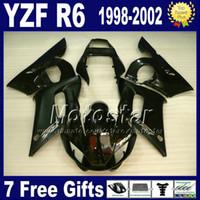 moto yamaha yzf r6 al por mayor-Kit completo de carenado ABS para YAMAHA YZF600 YZF R6 1998 1999 2000 2001 2002 YZF-R6 98-02 Carenado de motocicletas ENEOS negro brillante negro VB4