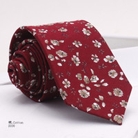 Wholesale Men S Silk Skinny Ties - Stock men's fashion Korean cotton printing tie ascis cotton 6cm skinny floral tie