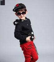 Wholesale Kids Black Hooded Sweater - Wholesale-2015 new autumn children's sweater,boys 100% cotton Long-sleeved active sweater,kids fashion Star pattern Hooded Pullover