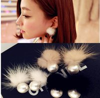 Wholesale mink balls - 2016 New Korean version of the double-sided fashion pearl mink ball earrings earrings exaggerated