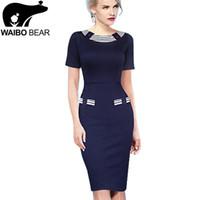Wholesale Career Wear Tops - Tops Women Sheath Pencil Dress Women Summer Style Bodycon Work Office Wear Business Career Grace Morality Knee-Length Plus Size