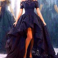 Wholesale chiffon high low ball gowns - Black Lace Front Short Long Back Puffy Ball Gown Elegant Evening Dresses Hi Low Dubai Arabic Party Dresses Vestido De Renda