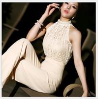 Wholesale Women Harem Pants Korea - 2016 Sexy Lace Jumpsuits for Women Korea Halter Pearl Collar Strapless High Waist Stitching Lace Chiffon Loose Harem Jumpsuit Rompers Pants