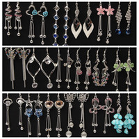 Wholesale plants allergies - Anti allergy crystal Tassels Earrings Flower Butterfly Peacock love heart Hanging long Earrings box packed mixed 20 style 20Pairs lot