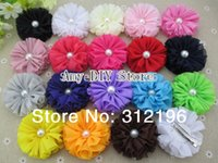 Wholesale quot Ballerina Flowers Chiffon Flowers With Pearl CLIP Baby Girls Hair Accessories Kids Hair Flowers