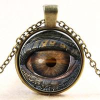 Wholesale glass evil eye necklace - Dragon Evil Eye Necklace 3D eyeball Time Gemstone Glass Cabochon Necklaces Fashion Jewelry for Men Women DROP SHIP 160676