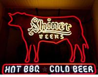 signos de cerveza de texas al por mayor-Shiner Hot Beer Texas Barbeque / Cold Beer Letrero de neón ... Auténtico nuevo en caja Neon Sign Buddweiser 30