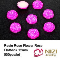 Wholesale Rose Shaped Craft Beads - Rose Flower Beads 12mm 500pcs lot Rose Color Flatback Resin Round Shape Diamante Crafts Cabochons For DIY Wholesale