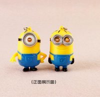 """Wholesale Despicable Key Rings - 2015 3D Despicable Me, LED light, can speak """"I Love You"""" Keychain Key Ring,free shipping"""