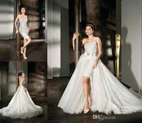 Wholesale Demetrios Detachable - Detachable Train Top Selling Classic One Shoulder White Short Mini Demetrios Bow Wedding Dresses Formal Bridal Gowns